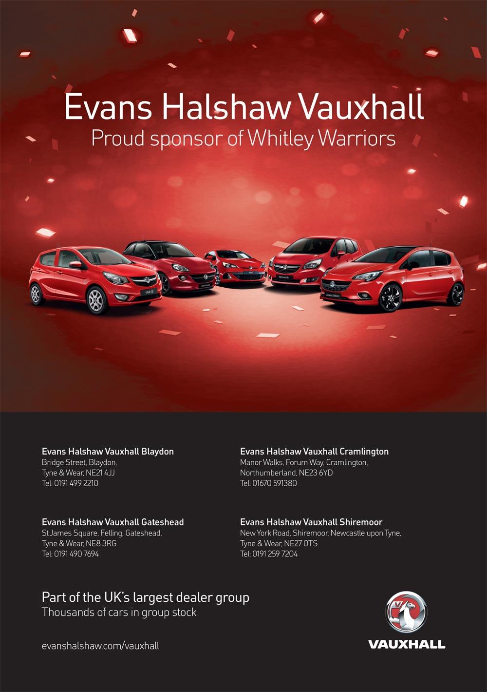 Evans Halshaw Vauxhall programme advert
